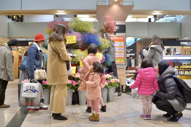 西船橋駅お花を見つめる子どもたち